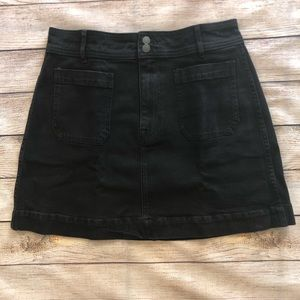Madewell Black Stretch Denim A-line Mini Skirt